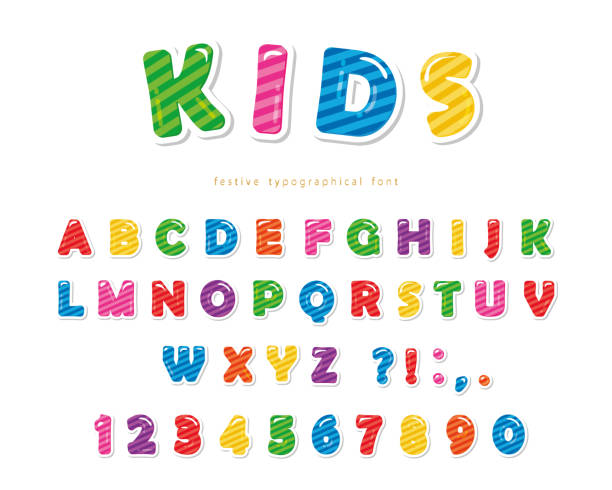 kids font. cartoon glossy colorful letters and numbers. - bubble fonts stock illustrations