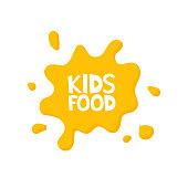 Kids food letters in juice splash. Vector illustration