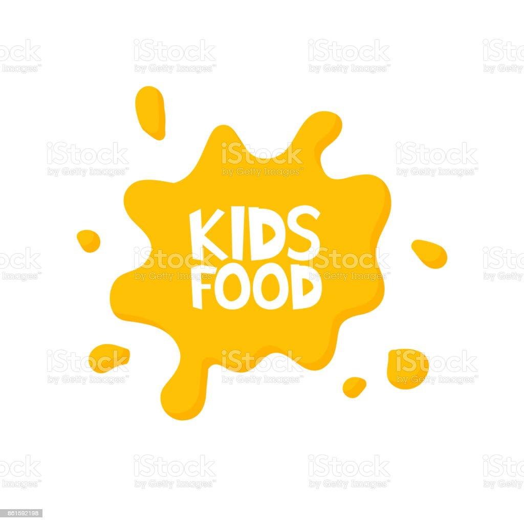 Kids food letters in juice splash. Vector illustration vector art illustration