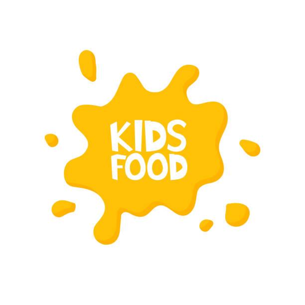 stockillustraties, clipart, cartoons en iconen met kinderen eten brieven in sap splash. vectorillustratie - baby dirty