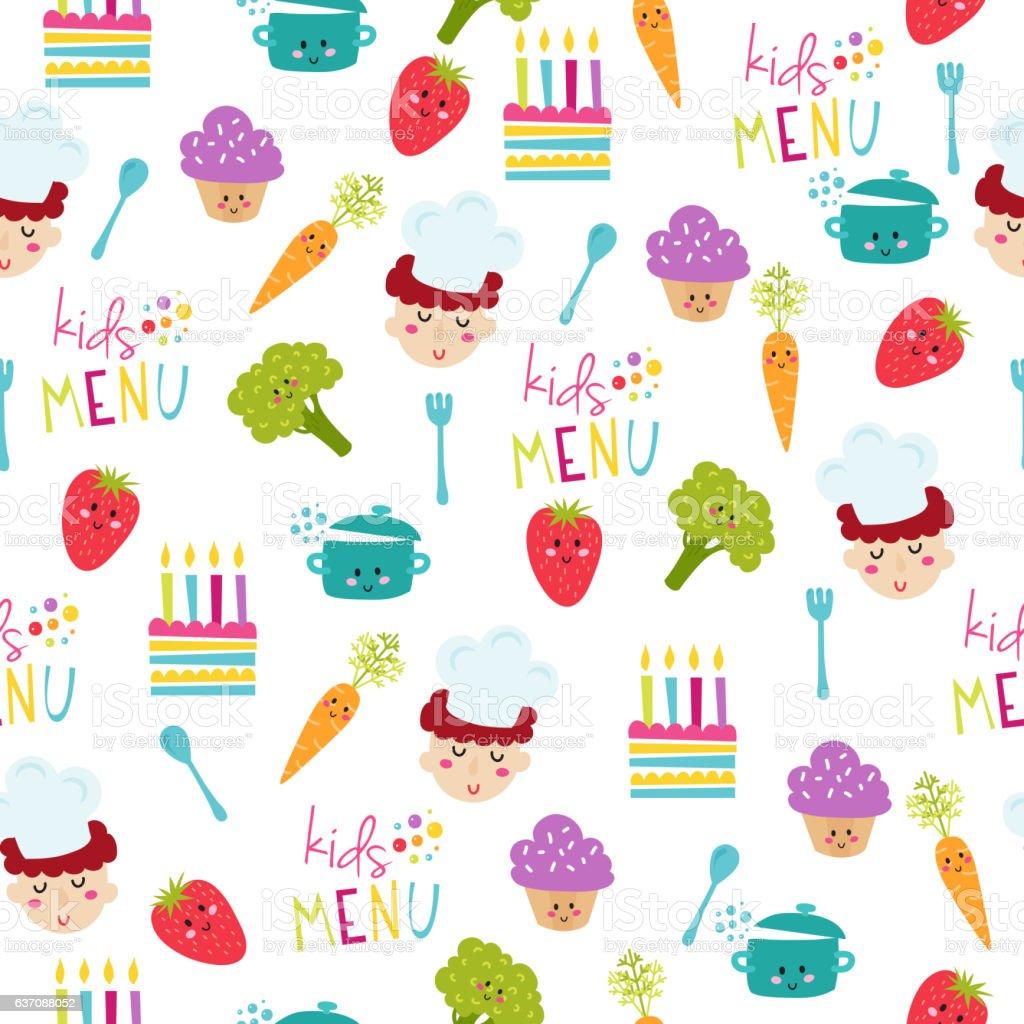kids food menu background vector illustration stock vector