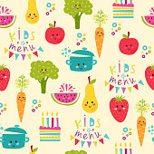 Seamless background with fruits and vegetables on white. Flat design kids food restaurant lunch happy fun pattern. Vector illustration cook concept dinner template.