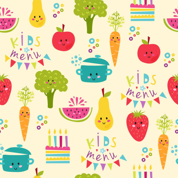 Kids food menu background vector illustration Seamless background with fruits and vegetables on white. Flat design kids food restaurant lunch happy fun pattern. Vector illustration cook concept dinner template. cooking borders stock illustrations