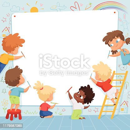 Kids frame. Cute characters childrens painting drawing and playing empty place for text vector template. Kids drawing on white banner, characters preschool painter illustration