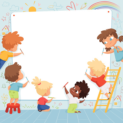 Kids frame. Cute characters childrens painting drawing and playing empty place for text vector template