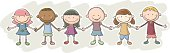 Kids'friendship cartoon character, with colour