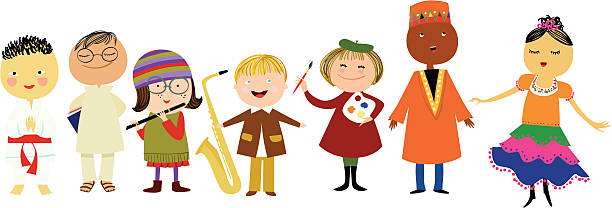 kids from the world group of children from different cultures indian family stock illustrations