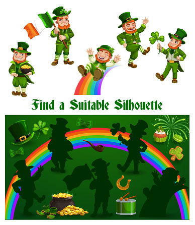 Kids game shadow match with funny leprechauns