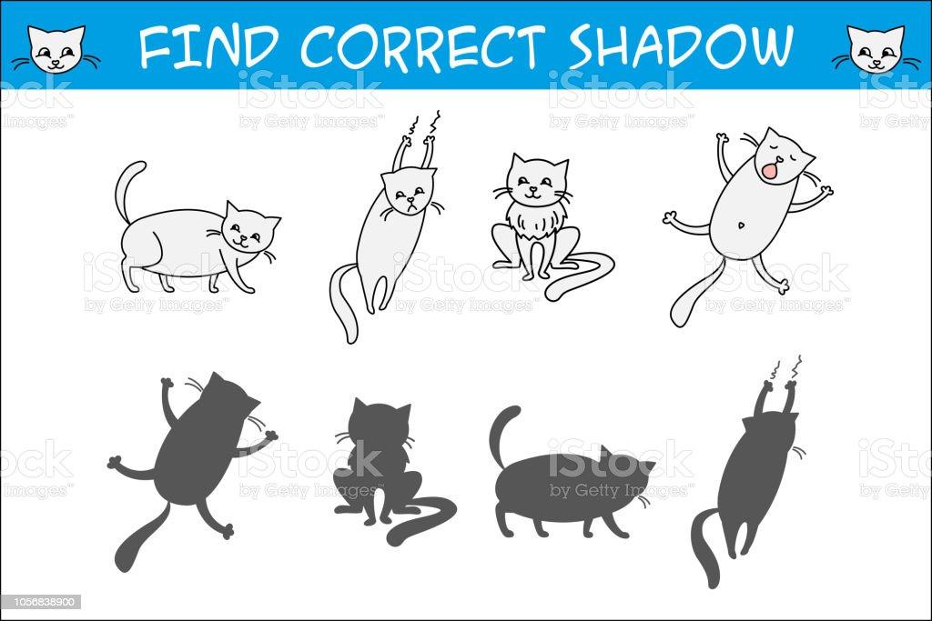 Ilustracion De Juego De Ninos Con Los Gatos Encontrar Sombras