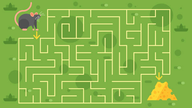 kinder-spiel mit maus - labyrinthgarten stock-grafiken, -clipart, -cartoons und -symbole