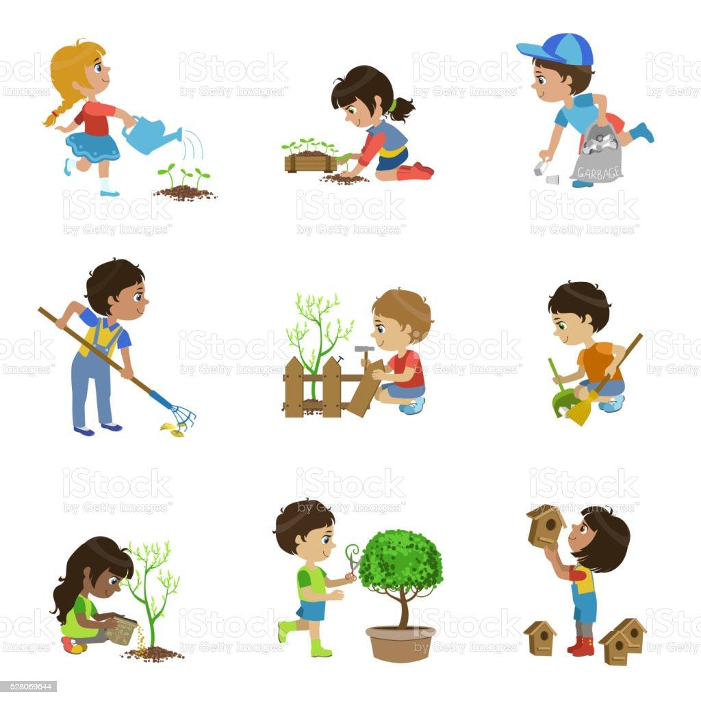 Kids Gardening Illustrations Collection Stock Vector Art ...
