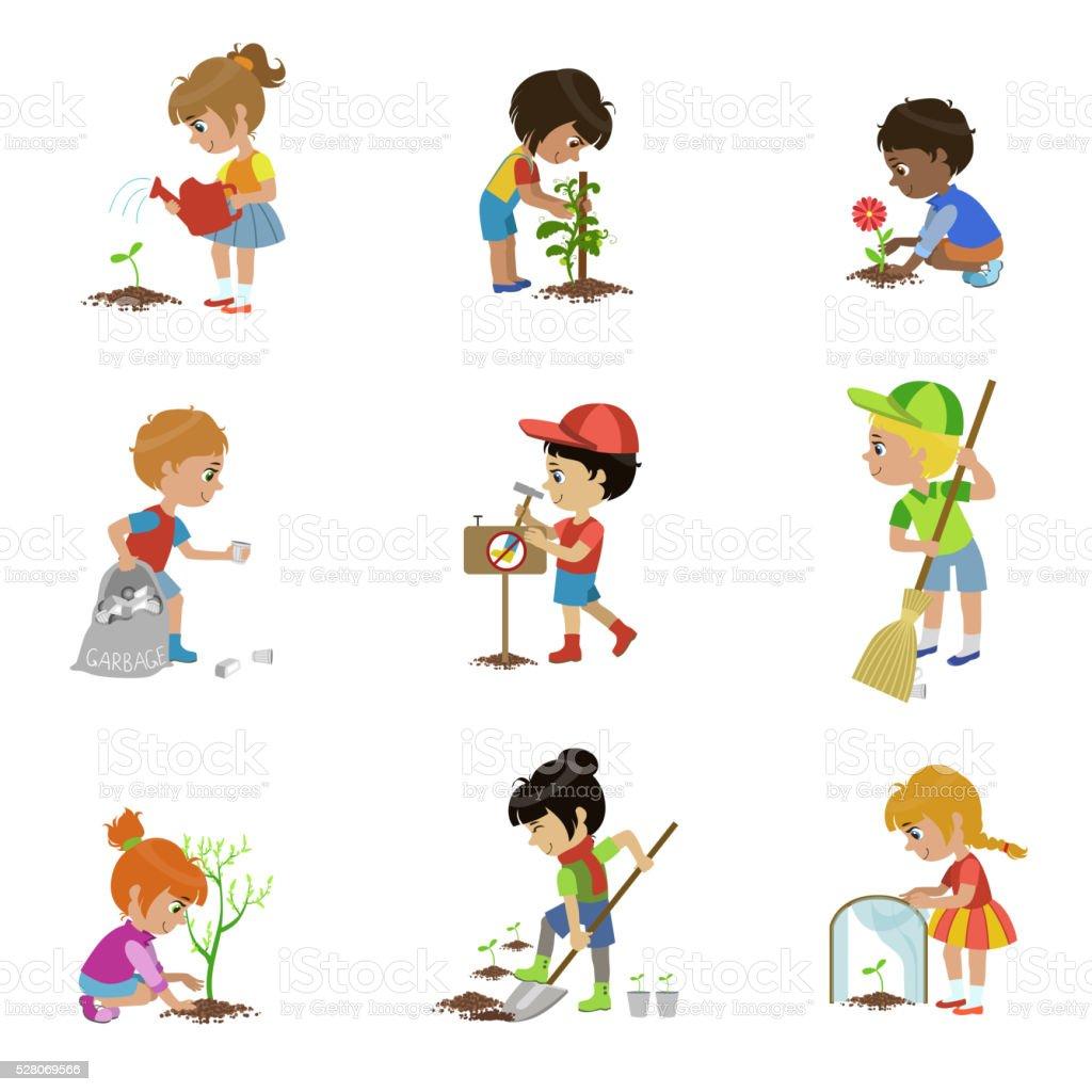 Kinder Garten Illustrationen Satz – Vektorgrafik