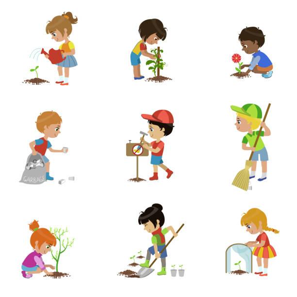 ilustrações de stock, clip art, desenhos animados e ícones de filhos de jardinagem ilustrações - plantar