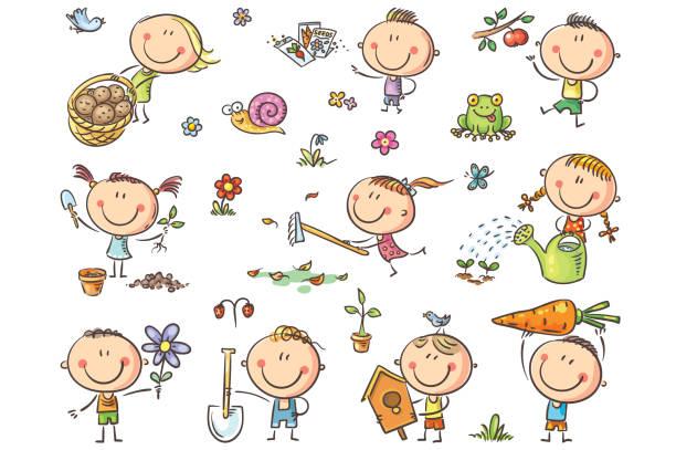 Kids Gardening Set vector art illustration