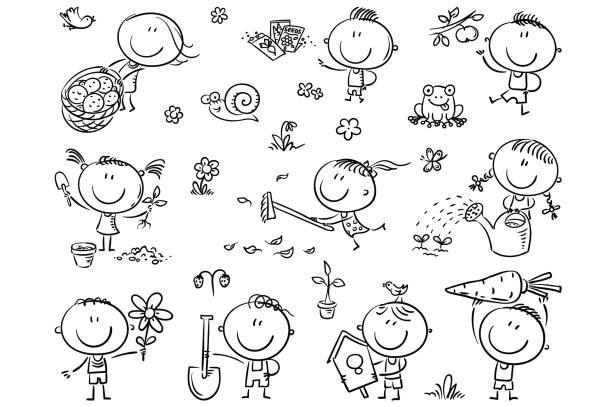 kinder im garten - lustige schnecken stock-grafiken, -clipart, -cartoons und -symbole