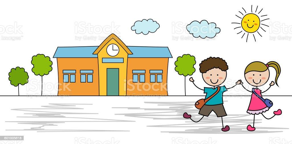 Ir a la escuela para ni os illustracion libre de derechos for Actividades recreativas en el salon de clases