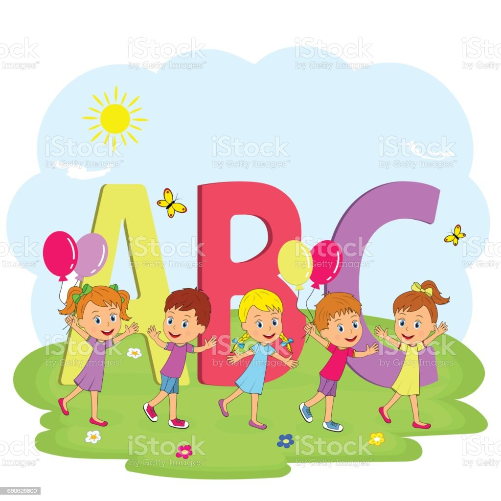 kids go with balloons on the meadow and letters vector art illustration