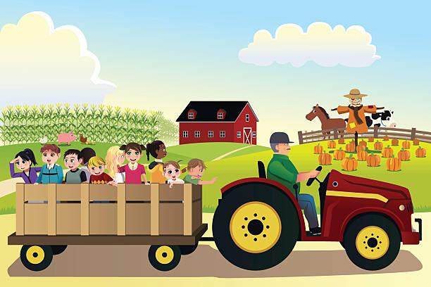 kinder auf einer hayride in einer farm - herbstgemüseanbau stock-grafiken, -clipart, -cartoons und -symbole