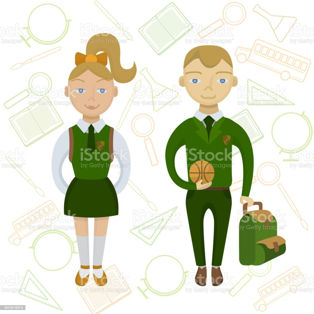 royalty free school children in uniform clip art clip art vector rh istockphoto com school uniform uk clipart school uniform uk clipart