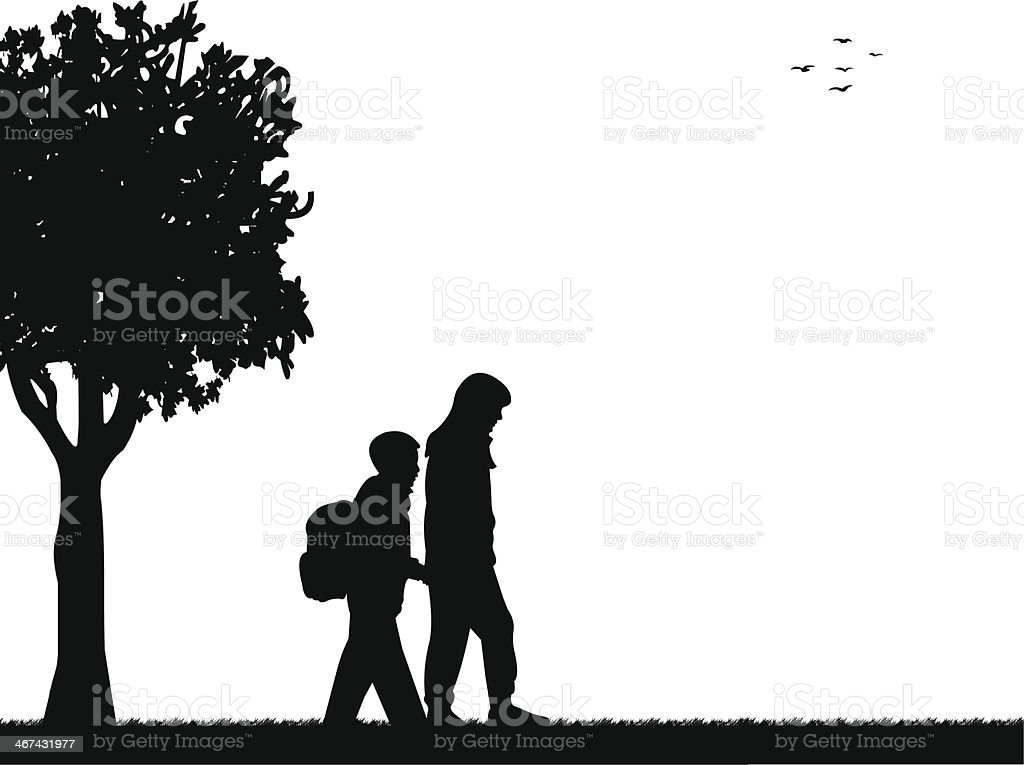 Kids going to school silhouette vector art illustration
