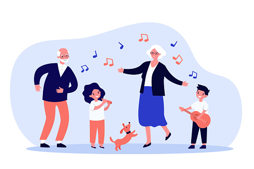 Kids, grandparents and pets having fun