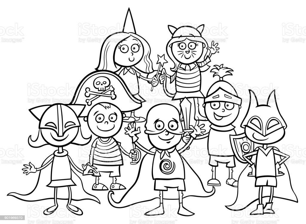 Ilustración De Grupo De Niños En Baile De Máscara Para Colorear
