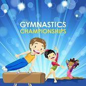 Three kids gymnastics training for championship.