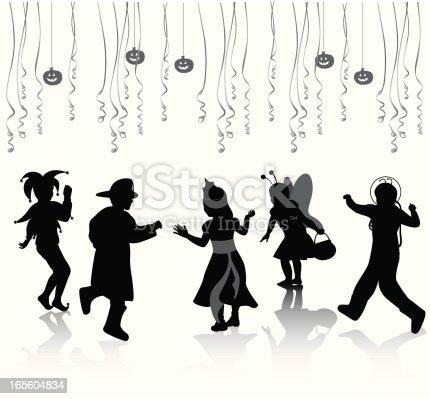 Kids Halloween Vector Silhouette