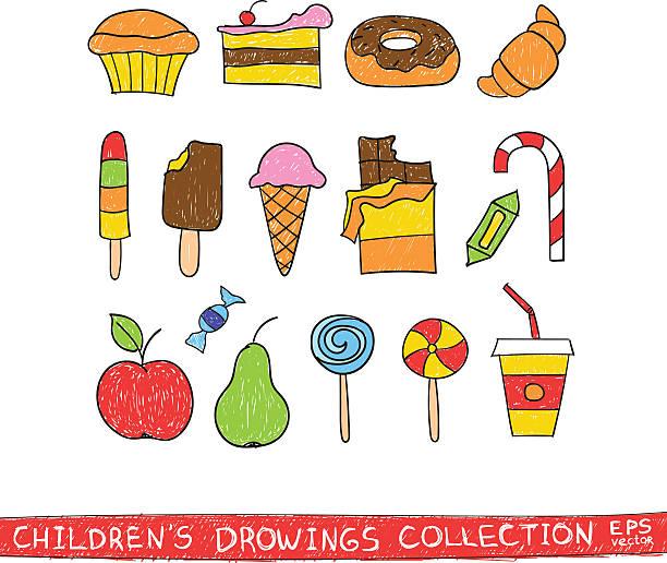 kinder hand zeichnung leckere speisen.   comic skizze illustration, vektor-skizzen - schulbedarfskuchen stock-grafiken, -clipart, -cartoons und -symbole