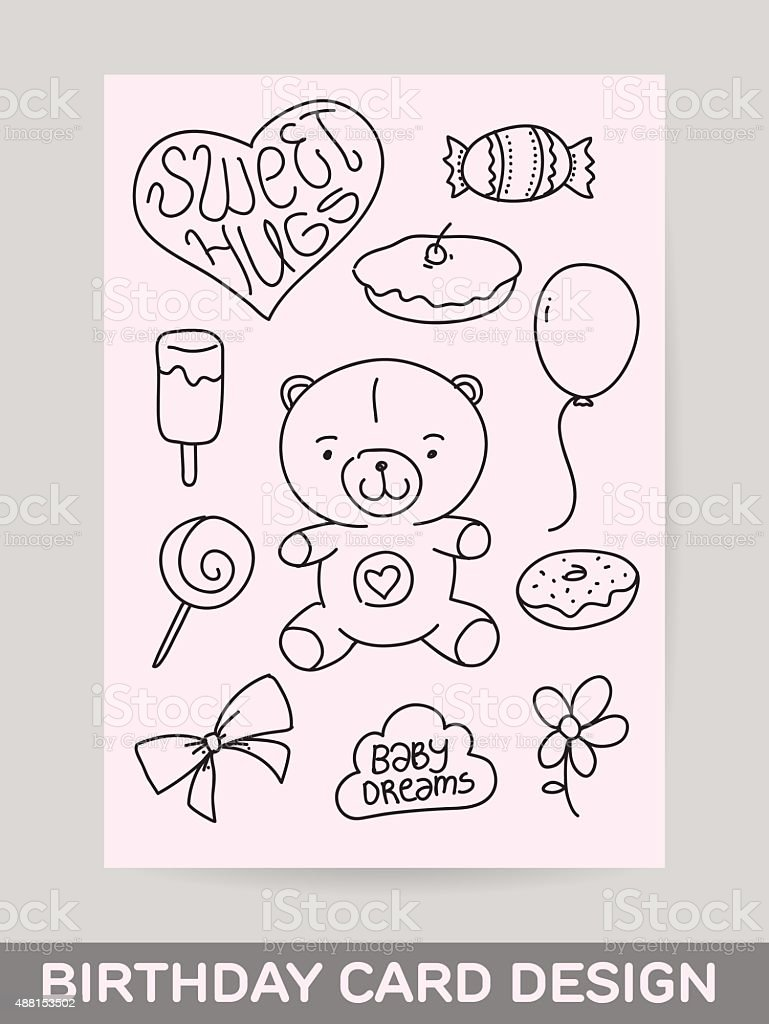 Kids Hand Drawn Greeting Card Design With Doodle Teddy Stock Vector