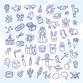 istock Kids hand drawn icons and vector elements. Cute children illustrations 1144836959