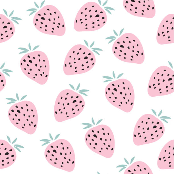 illustrazioni stock, clip art, cartoni animati e icone di tendenza di kids hand drawn seamless pattern with strawberries - fragole