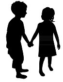 Kids hand in hand, silhouette vector