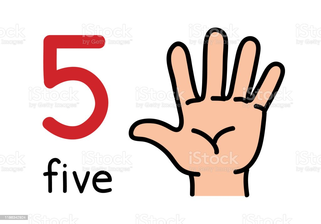 5 Kids Hand Showing The Number Five Hand Sign Stock Illustration - Download  Image Now - iStock
