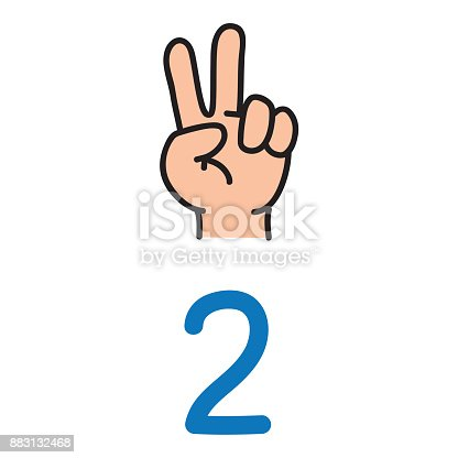 693519466 istock photo Kid's hand showing the number two hand sign. 883132468