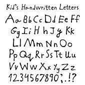 Kid's handwritten letters.