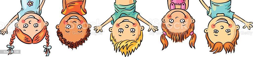Kids hanging upside down vector art illustration
