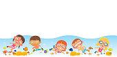 Vector Kids Have Fun Underwater