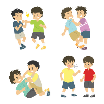 Kids Having a Fight Vector Collection