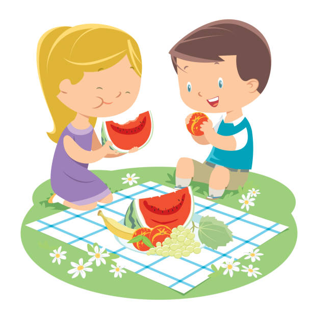 illustrazioni stock, clip art, cartoni animati e icone di tendenza di kids having a picnic - pesche bambino