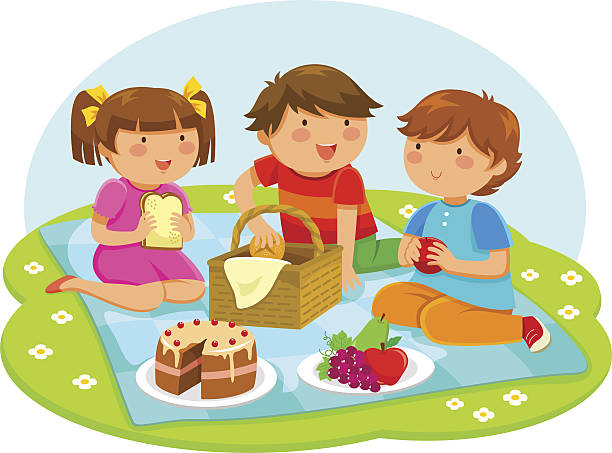 kids having a picnic three cute kids having a picnic outside female sandwich stock illustrations