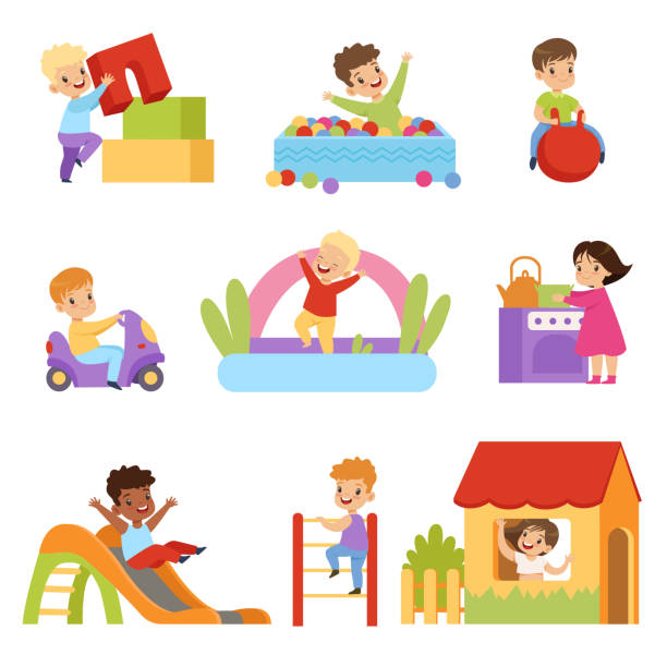 kids having fun at playground set, boys and girls playing with toys, sliding down slide, climbing ladder vector illustrations on a white background - jumping stock illustrations