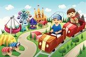 Kids having fun in an amusement park