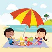 Kids having picnic.