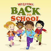 Happy kids running back to school
