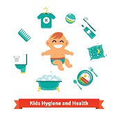 Kids health and hygiene icons. Baby boy, bubble bath, toilet, breakfast, pillow, toothbrush and toothpaste. Flat style vector icons set.