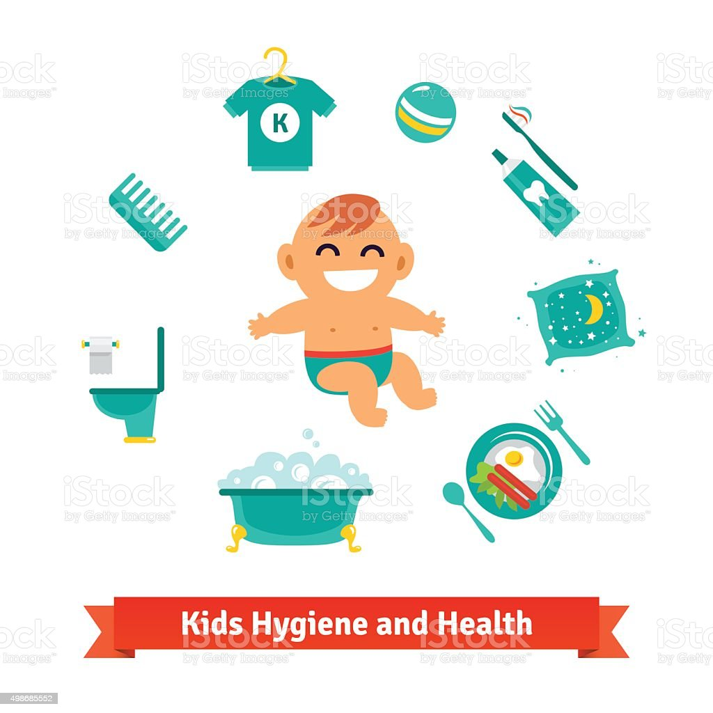 Kids health and hygiene icons. Baby boy vector art illustration