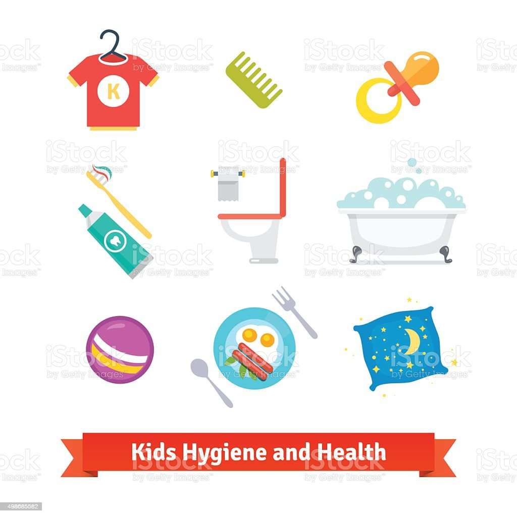 Kids health and hygiene vector art illustration