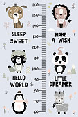 Kids height chart. Cute and funny doodle animals. Growth chart in scandinavian style. Poster template, childish print. Various wild animals with different accessories. Vector illustration