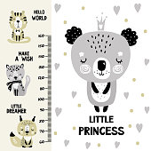 Kids height chart. Cute and funny doodle animals. Growth chart in scandinavian style. Poster template, childish print. Vector illustration